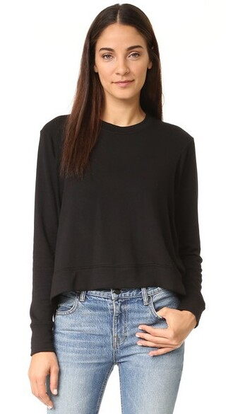 sweatshirt high soft high low black sweater