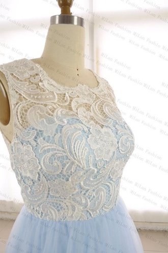 dress baby blue lace prom dress