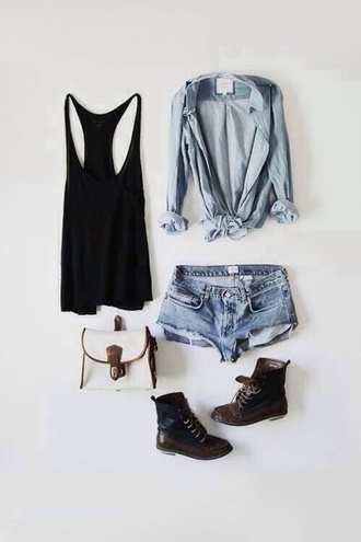shirt hipster soft grunge skater skater girl black and blue cream and blue cream combat boots cut off shorts