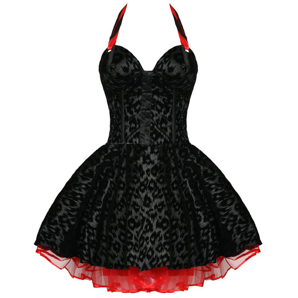 Living dead souls new black leopard rockabilly goth corset prom party mini dress