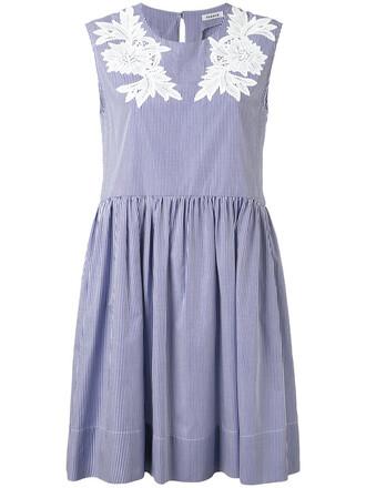 dress embroidered women cotton blue