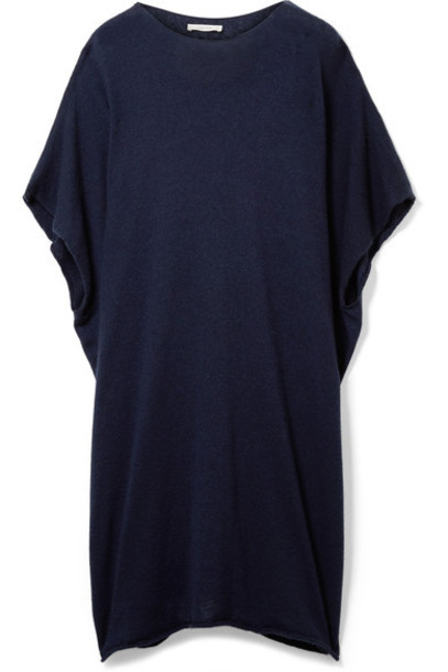The Row poncho navy silk top