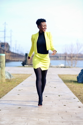 skinny hipster blogger jacket lime skorts two-piece make-up skirt shoes