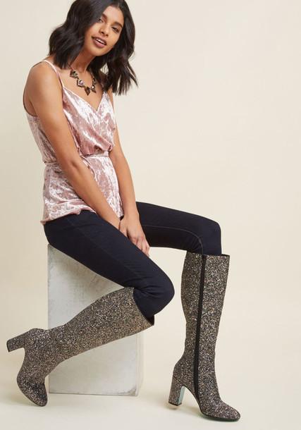 Betsey Johnson boot high knee high metallic shoes