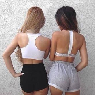 shorts grey friends love want pants hot summer cute bra sports bra white
