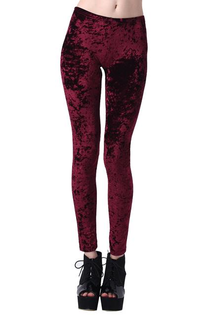 Romwe classic gold soft velvet solid wine red leggings, the latest street fashion