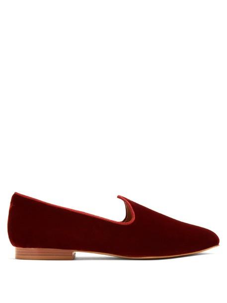 LE MONDE BERYL Venetian velvet slipper shoes in red