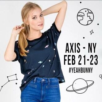 t-shirt yeah bunny space moon stars cute universe galaxy print planets navy spaceshirt