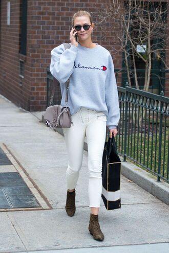 sweater sweatshirt pants karlie kloss ankle boots purse sunglasses model off-duty