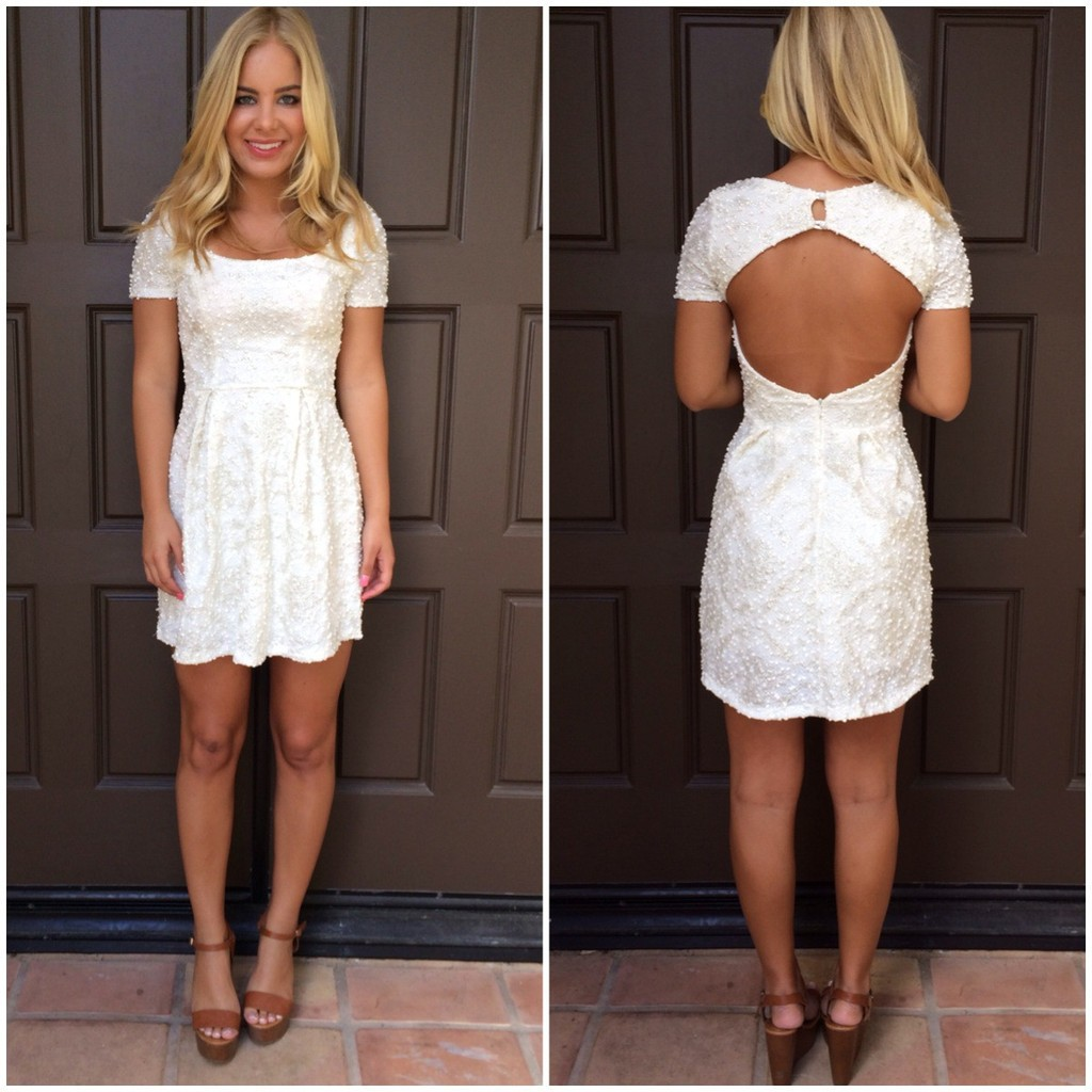 Ivory shimmer lace open back dress