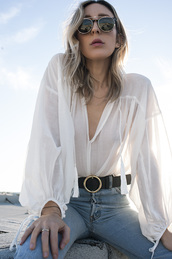 the fashion sight,blogger,blouse,sunglasses,round sunglasses,white blouse,see through,belt,high waisted jeans