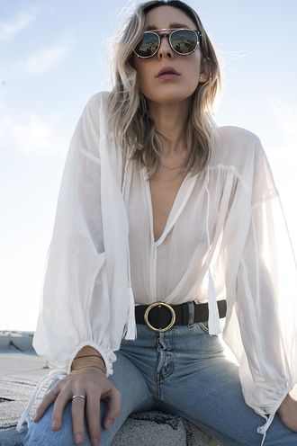 the fashion sight blogger blouse sunglasses round sunglasses white blouse see through belt high waisted jeans