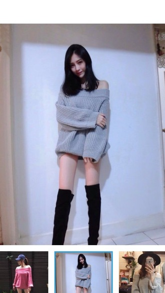 sweater off shoulder pullover black knitted sweater