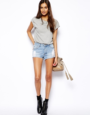 Glamorous | Glamorous Denim Distressed '90s Shorts at ASOS
