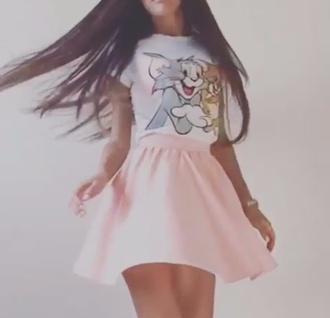 skirt girly pink skirt pink shirt