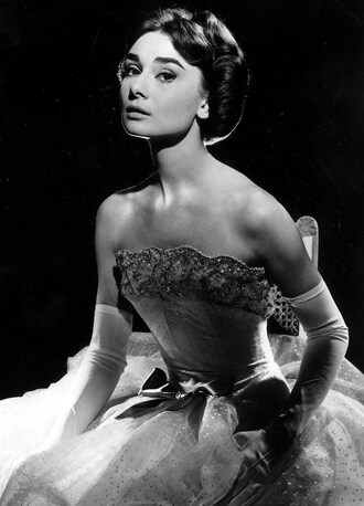 dress white dress wedding dress gown lace dress gloves white gloves hairstyles audrey hepburn actress