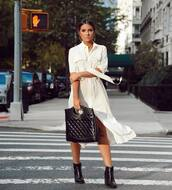 dress,white dress,midi dress,button up,short sleeve dress,black boots,booties,handbag,earrings