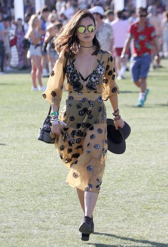 dress jamie chung blogger coachella midi dress flowers see through dress sunglasses round sunglasses floral cover up black boots