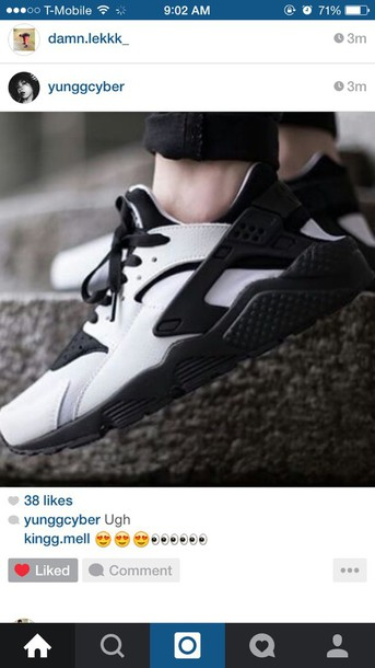 shoes black and white nike huarache name please