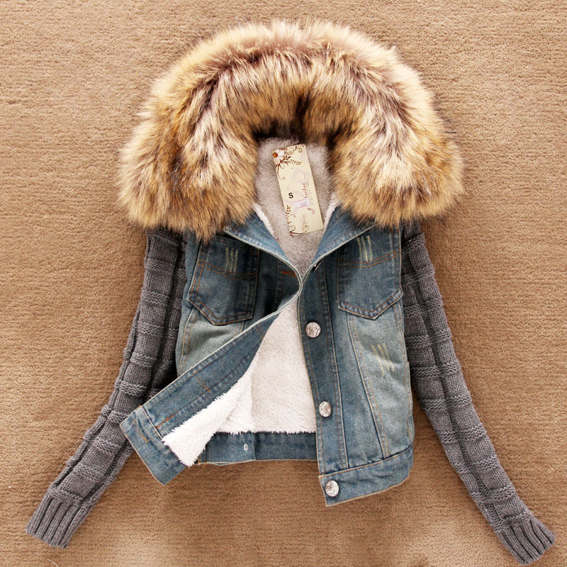 Korean Version Women's Winter Jacket Artificial Fur Collar Thick Denim Clothing | eBay
