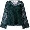 See by chloé - lace layered bell top - women - polyester - 40, green, polyester