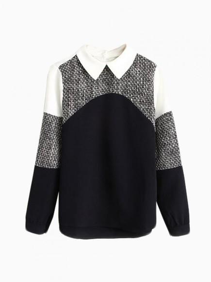 t-shirt shirt contrast color clothes peter pan collar