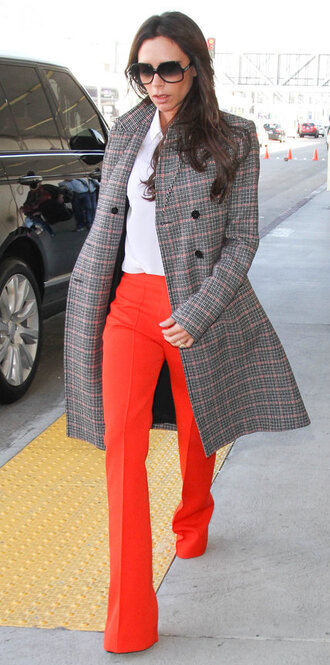 coat pants red pants victoria beckham fall outfits blouse shirt