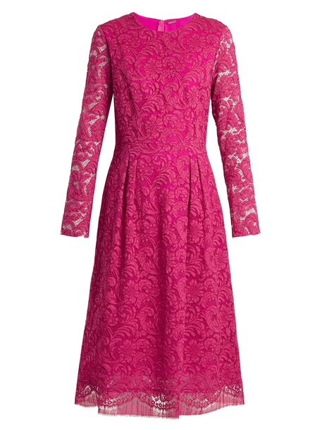 Adam Lippes dress long lace cotton pink
