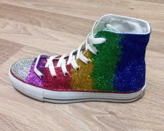 67e86ca71f90 Swarovski Crystal Rainbow Glitter Converse by BifrostShoes on Etsy
