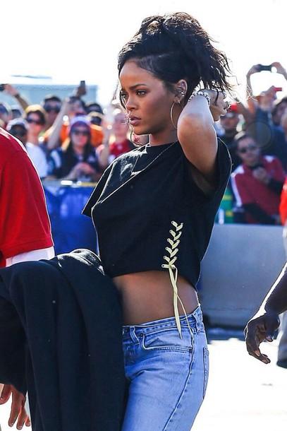 Top Rihanna Jeans Rihanna Rihanna Style Denim Jeans Black Top Style Celebrity Fashion