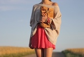 skirt,off the shoulder sweater,knitted sweater,beige,tucked in,pink,polka dots,white,belted,sweater