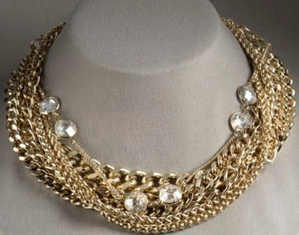 Jewels Gold Diamonds Chain Girl Necklace Neck Fashion Dress Up Elegant Beautiful Love Wheretoget