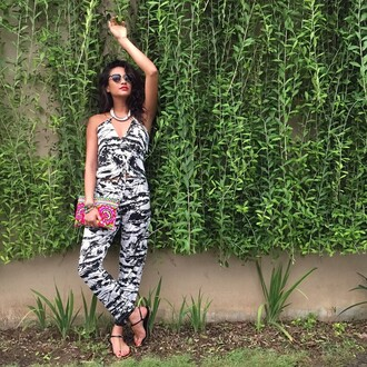 jumpsuit black and white shay mitchell summer outfits