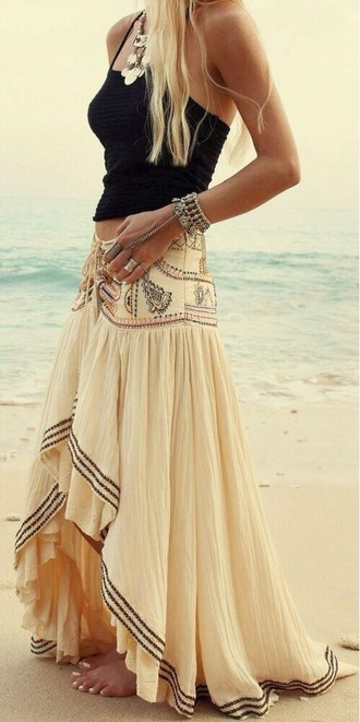shirt nude skirt maxi skirt tank top crop tops statement necklace jewels high low summer outfits dress asymmetrical high waisted skirt hippie tumblr summer delicate boho beach maxi hi-lo ruffle bohemian festival