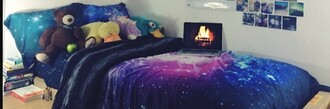 home accessory galaxy print bedding cool tumblr