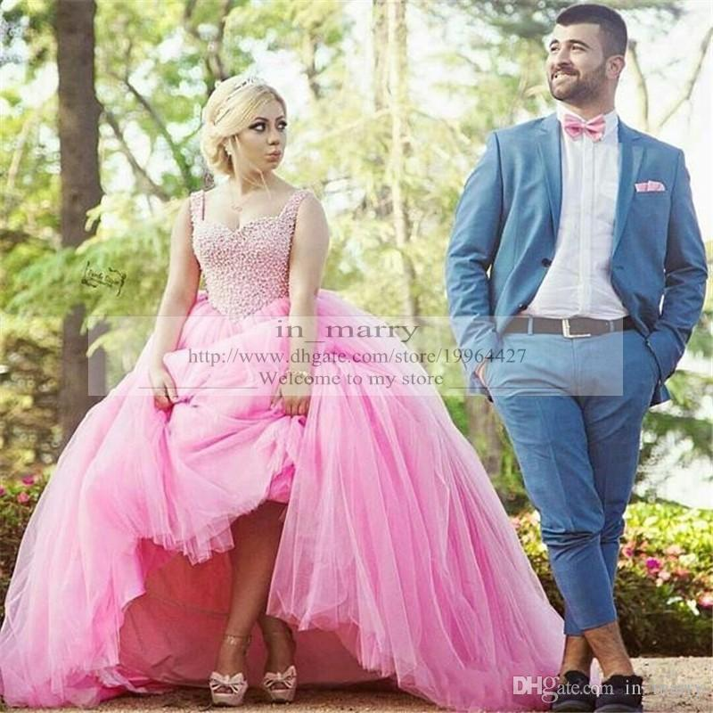 Puffy Pink Victorian Colorful Ball Gown Wedding Dresses Cheap 2015 ...