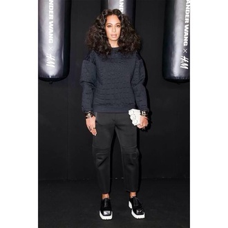 satin solange knowles hairstyles celebrity style sweater trill dope shoes pants