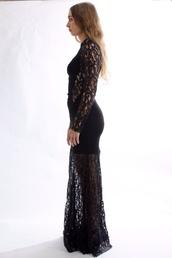 dress,lace dress,black maxi dress,maxi dress,mesh panels,bodycon dress,high neck,long sleeve dress,cut-out