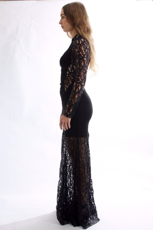 dress lace dress black maxi dress maxi dress mesh panels bodycon dress high neck long sleeve dress cut-out