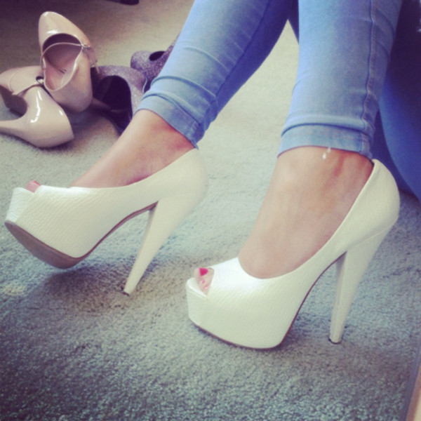 shoes high heels white high heels open toes open shoes white dress jeans