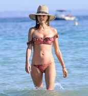 swimwear,summer,beach,alessandra ambrosio,bikini,bikini top,bikini bottoms,hat,earrings