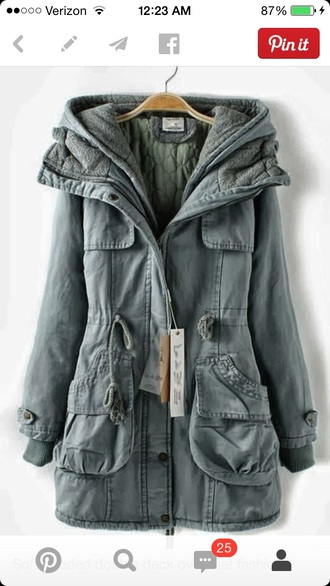 zipper layers army green thermal warm pockets grey coat