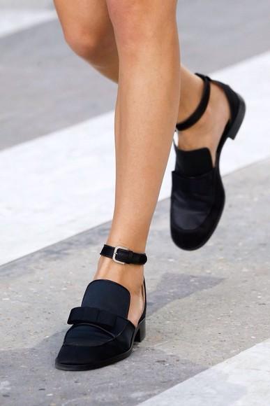black shoes moccasins open shoes black bow shoes