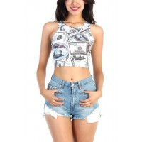 LoveMelrose.com From Harry & Molly | Money Print Crop top