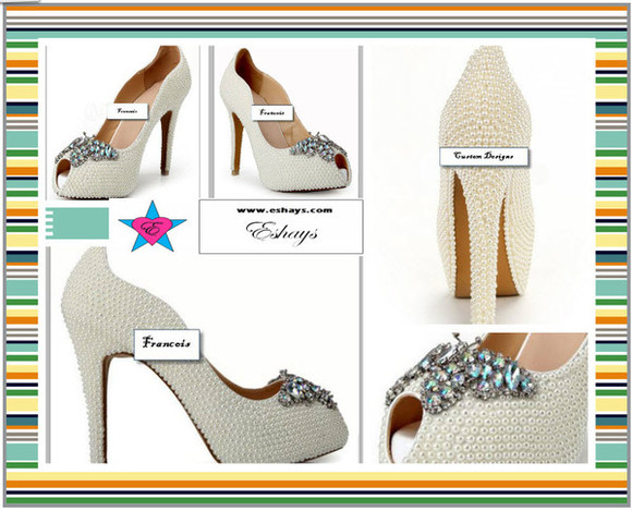 pearls shoes pearl shoes prom shoes wedding shoes open toe pumps pearl wedding shoes cute shoes elegant heels www.eshays.com fancy heels