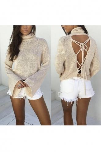 top nude beige trendy open back long sleeves knitwear turtleneck beautifulhalo