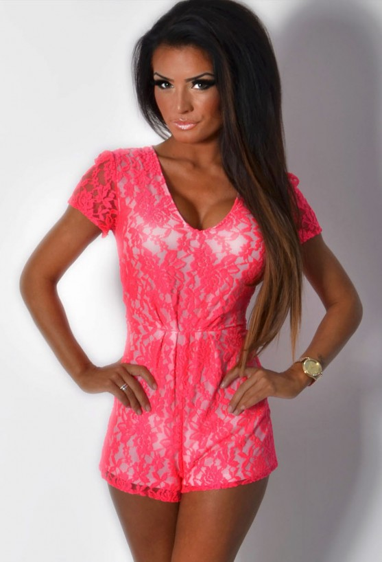 Celebrity-inspired fashion for Women Akina Neon Pink Deep Plunge Lace Playsuit Pink Boutique