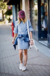dress,white bag,tumblr,mini dress,denim,denim dress,bell sleeve dress,sneakers,white sneakers,bag,shoes