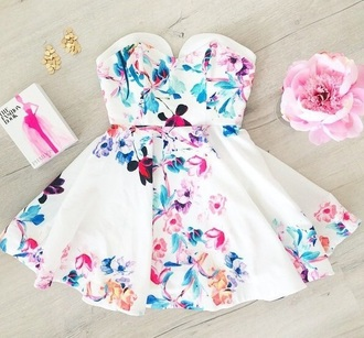dress white dress floral colorful