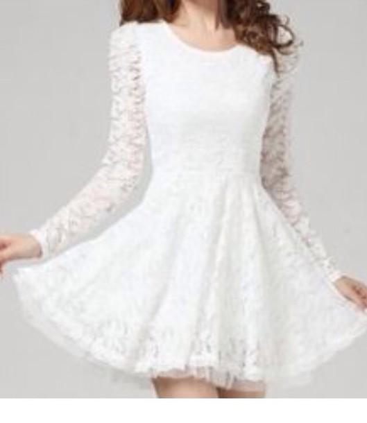 dress white dress long sleeve dress